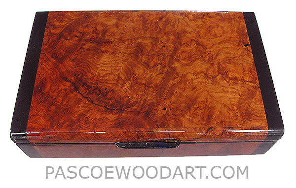 Decorative small wood keepsake box - Handmade wood box made of amboyna burl with bois de rose ends