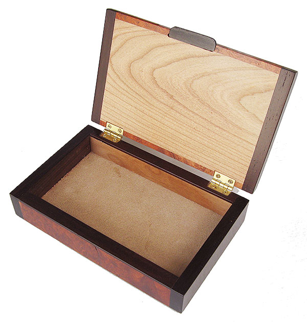Handmade small wood box - Decorative wood small keepsake box made of amboyna burl with bois de rose ends - open view