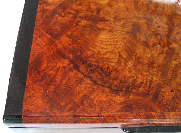 Amboyna burl box top close up - handmade small wood keepsake box