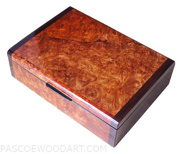 Handcrafted wood small keepsake box made of Amboyna burl with bois de rose ends