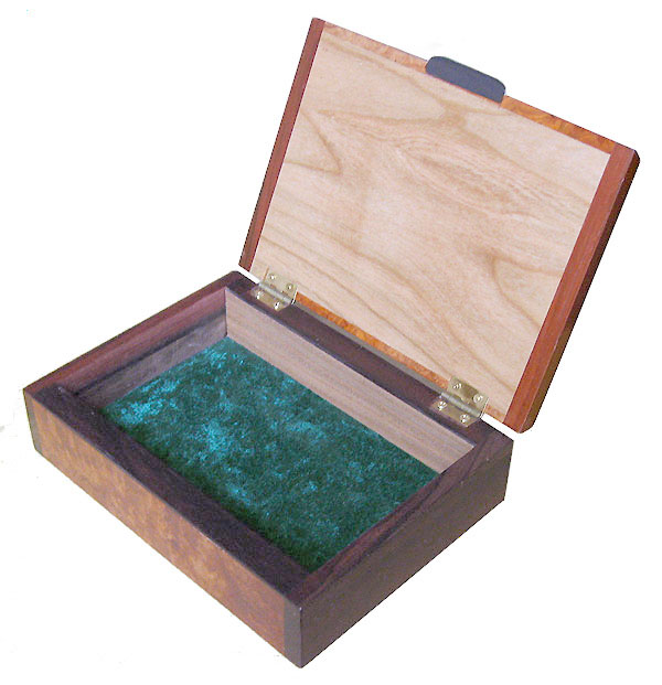 Handcrafted wood small keepsake box - open view