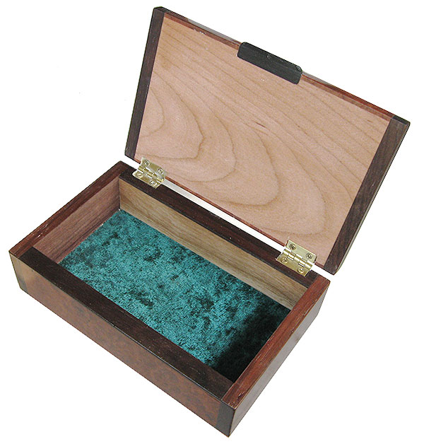 Handmade wood small box open view - Decorative small wood keepsake box