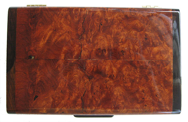 Amboyna burl box top - Handmade decorative small keepsake box
