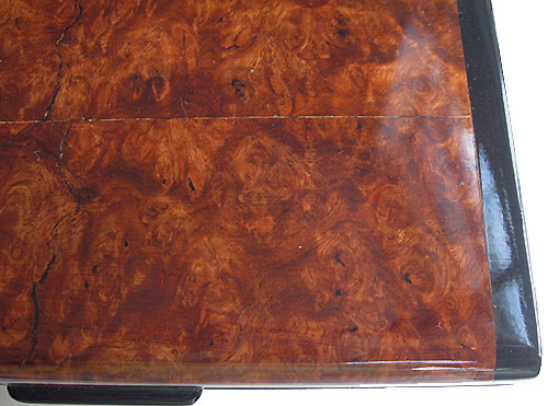 Amboyna burl box top closeup - Handmade small wood box