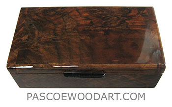 Handmade small wood box - Decorative wood small keepsake box made of crotch walnut with ebony handle