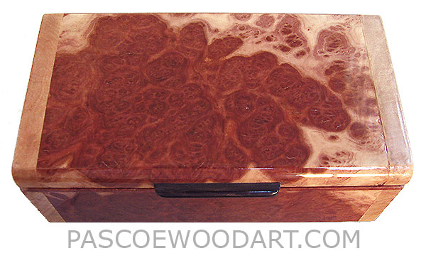 Handmade small wood box - Decorative small keepsake box made of red mallee with maple burl ends