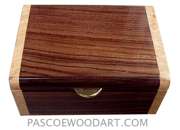 Handmade small wood box - Decorative wood small keepsake box mad of Asian ebony with maple burl ends