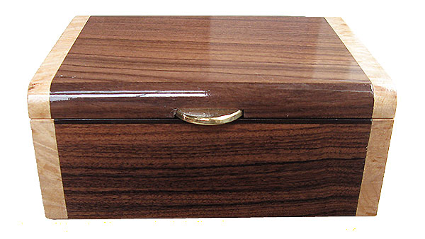 Asian ebony box front - Handmade decorative small wood box, keepsake box