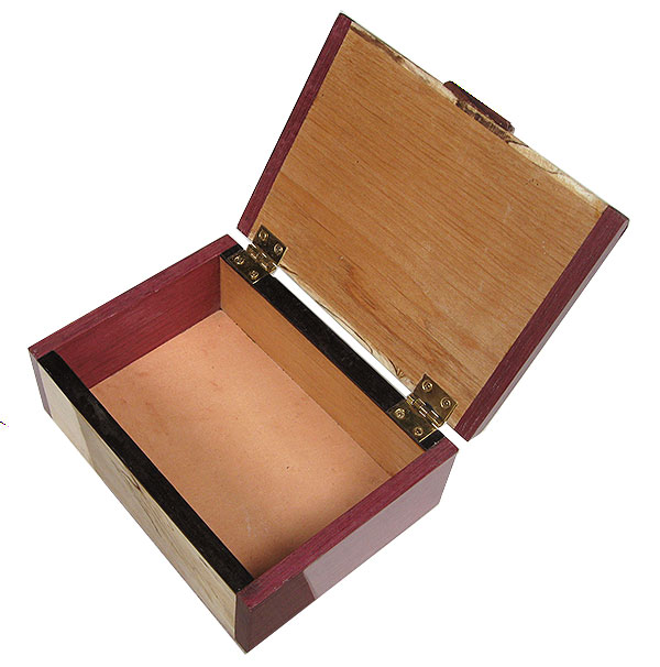 Handmade small wood box open view