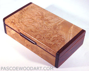 Handmade small wood box made of maple burl, cocobolo
