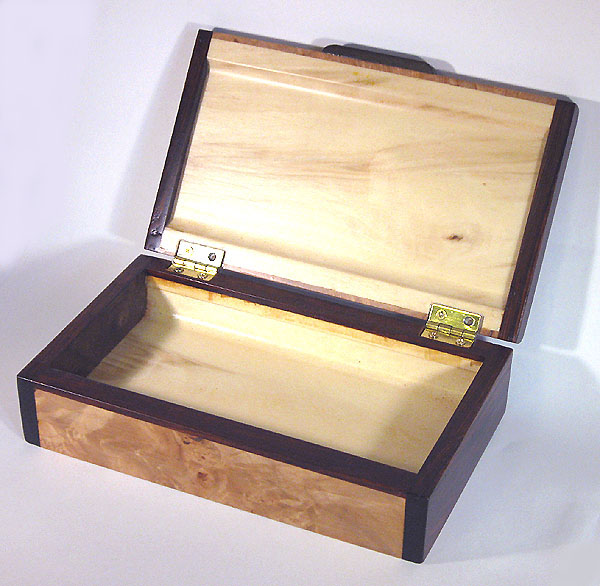 Handmade small wood box made of maple burl, cocobolo - open view