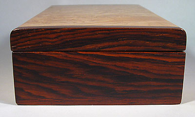 Handmade small wood box made of maple burl, cocobolo -right side view