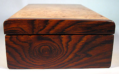 Handmade small wood box made of maple burl, cocobolo - left side view