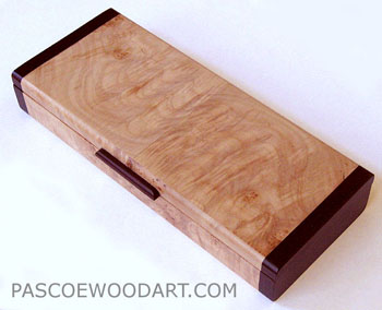 Small wood box - handmade of maple burl with bois de rose ends
