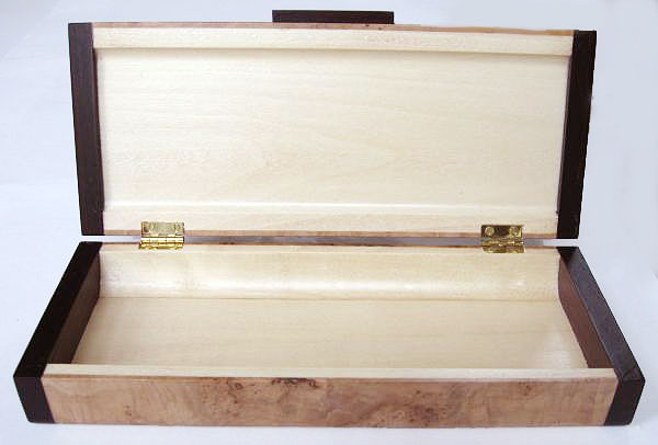 Small wood box - handmade of maple burl with bois de rose ends - open view