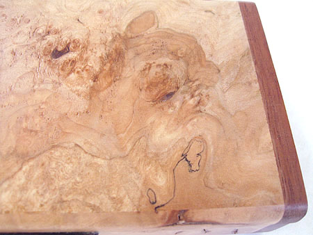 Maple burl box top closeup - Handmade decorative wood box