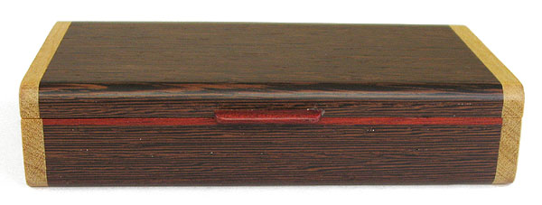 Handmade wood box front view - Decorative small wood box made of wenge, Ceylon satinwood