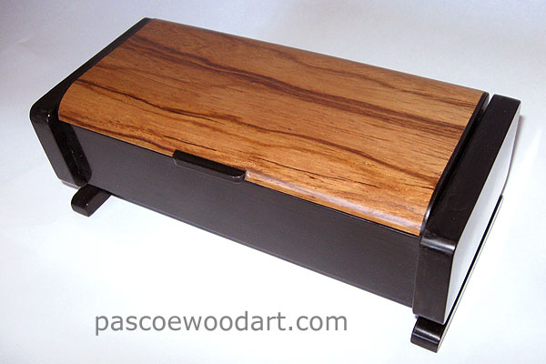 Handmade wood box made from ebony and Honduras rosewood - wood keepsake box