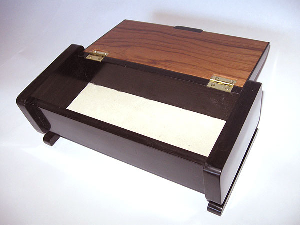 Handmade ebony and Honduras rosewood keepsake box - open view