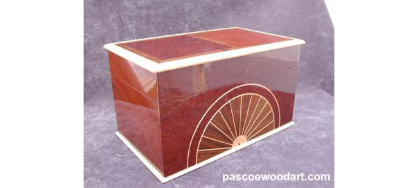 Handmade CD or DVD storage box -  Decorative wood box - Sapele body with Curly maple trim and Shedua inlay - Front view