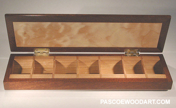Handmade sapele and quilted maple wood 7 day medication minder - weekly pill organizer