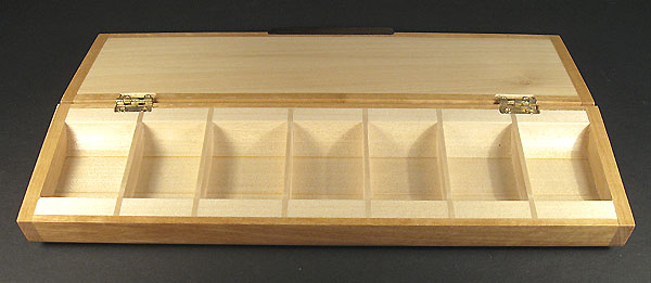 Handmade satinwood 7 day medication minder - weekly pill organizer