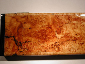 Maple burl pill box close up view