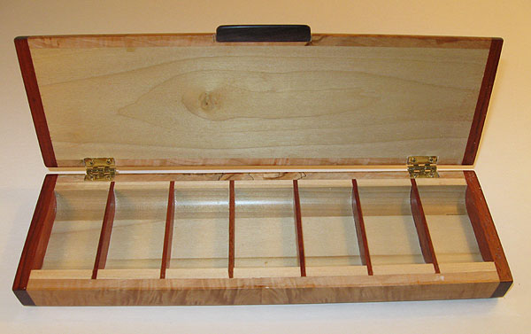 Handmade wood weekly pill organizer with 7 compartments open view