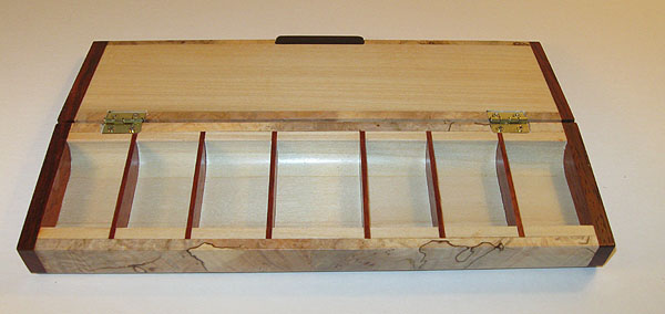 Handmade wood weekly pill organizer with 7 compartments