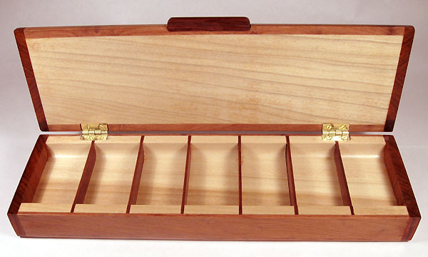 Handmade weekly pill box with 7 compartments made from birds eye redwood