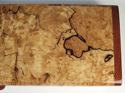Spalted maple burl top close up view