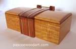 Handmade wood box - Tempest Forte - Honduras rosewood center piece on Ceylon satinwood box