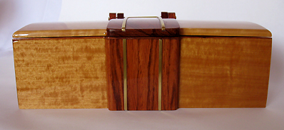 Handmade Ceylon satinwood with Honduras rosewood center piece front view