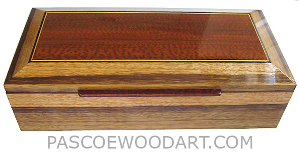 Handmade wood box- Men's valet box with sliding tray made of black limba with snakewood framed in bevel top