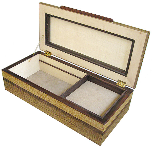 Handmade wood box with sliding tray - open view