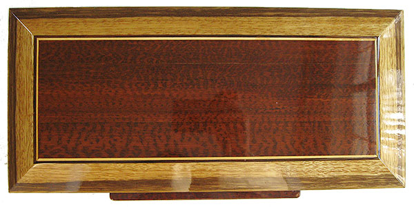 Snakewood center piece framed in black limba bevel box top