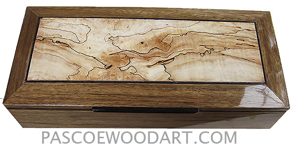 Handcrafted wood box - Decorative wood men's valet box or keepsake box with sliding tray made of black limba with spalted maple center bevel top