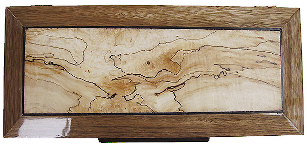 Spalted maple center piece framed in black limba box top - Handcrafted wood decorative men's valet box or keepske box