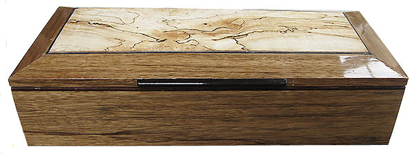 Black limba box front - Handcrafted wood box - Men's valet box or keepsake box with sliding tray