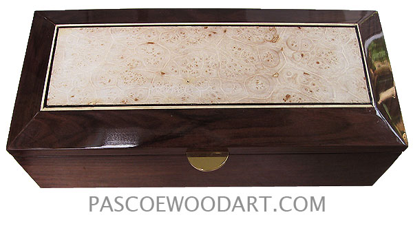 Handcrafted wood box - Decorative wood men's valet box, keepsake box made of Santos rosewood with maple burl center piece top