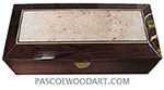 Handcrafted wood box - Decorative wood men's valet box or keepsake box made of Santos rosewood with maple burl center piece top