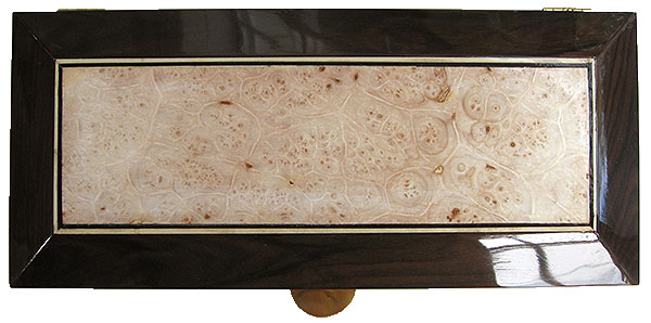 Maple burl center piece framed in Santos rosewood box top - Handcrafted decorative wood men's valet box or keepsake box