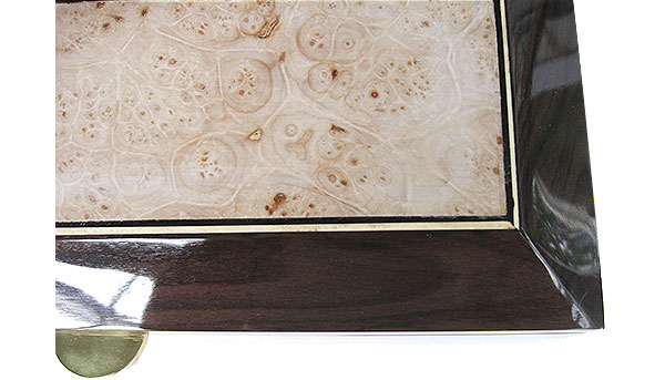 Maple burl framed in Santos rosewood box top