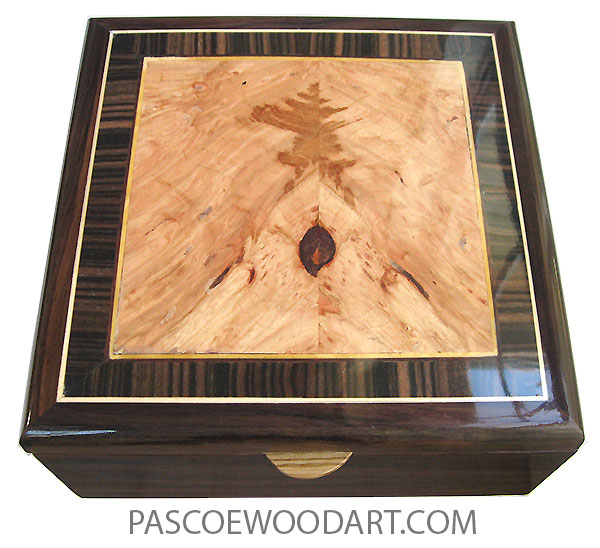 Handcrafted wood box - Decorative wood men's valet box made of East Indian rosewood with maple burl center framed in macassar ebony box top and a sliding tray.