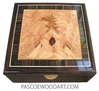 Handcrafted wood box - Decorative wood men's valet box made of East Indian rosewood with maple burl center framed in macassar ebony with Ceylon satinwood and holly stringing