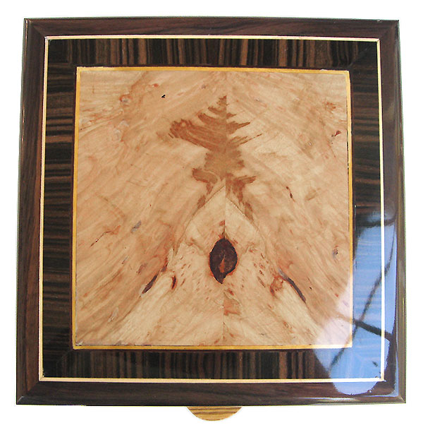 Maple burl center framed in macassar ebony and EWast Indian rosewood with Ceylon satinwood and holly stringing box top - Handcrafted wood box