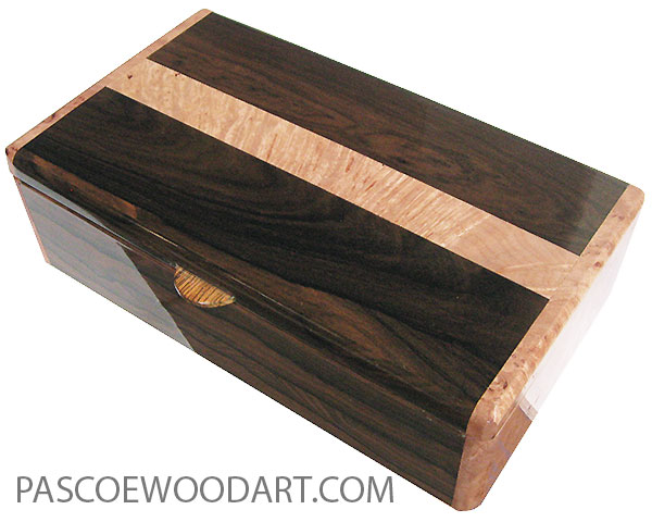 Handcrafted wood box - Decorative wood men's  valet box made of ziricote with maple burl ends.
