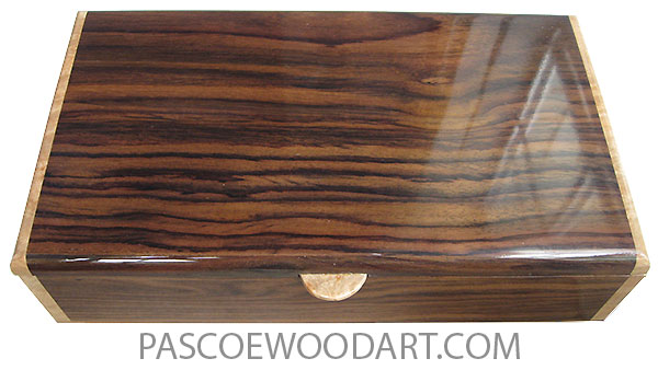 Handmade wood box - Men's valet box, keepsake box made of East Indian rosewood, Maple burl