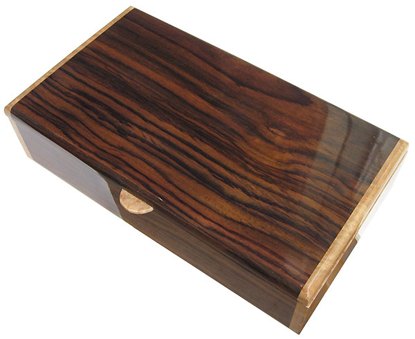 Handmade wood box - Men's valet box,keepsake box made of East Indian rosewood with maple burl ends