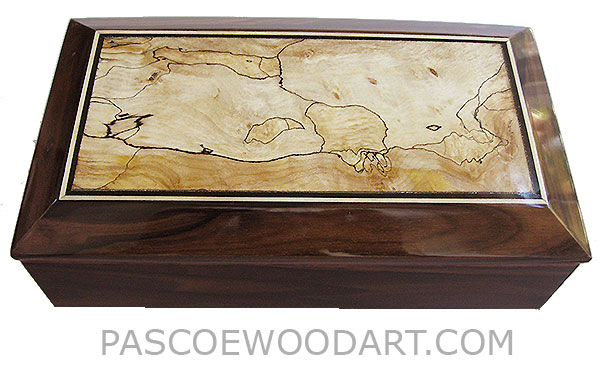 Handmade wood box- decorative wood keepsake box made of ziricote with blackline spalted maple top